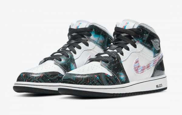 """The starry sky 3D theme is here again! Air Jordan 1 Mid SE GS """"Take Flight"""" DD3105-114 Cheap For Sale"""